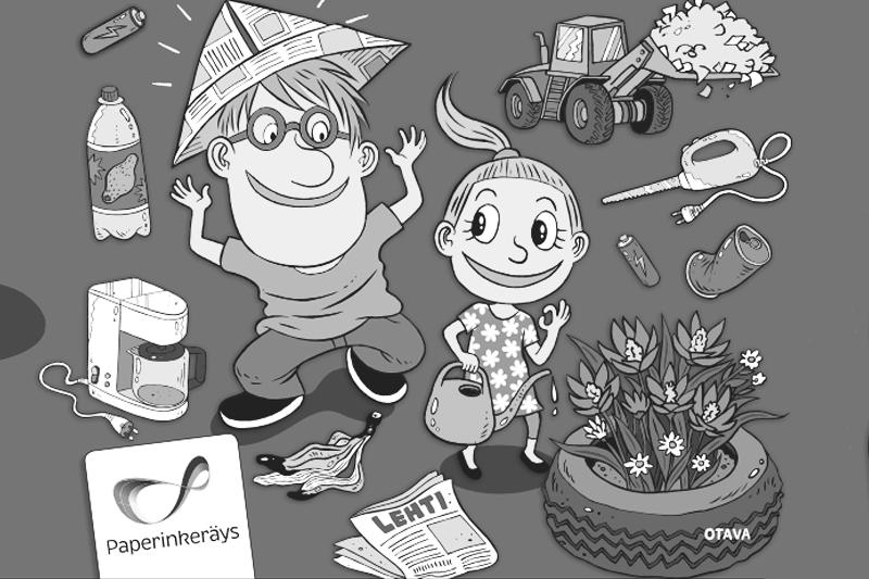 Paperinkeräys, Otava ja Brunnen vievät lapset kierrättämään